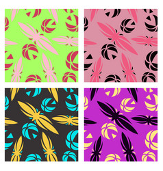assembly of patterns in flower style vector image