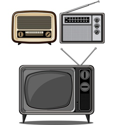 Retro television and radio vector