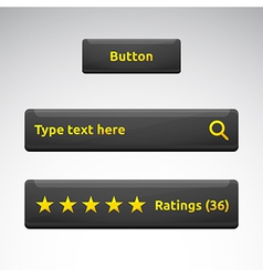 Button search bar rating box with stars vector