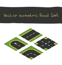 Isometric game road elements set vector
