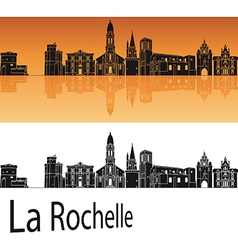 La Rochelle skyline in orange background vector image