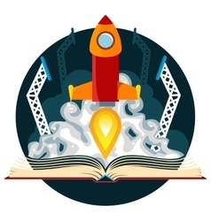 Sci-fi book with rocket launch vector