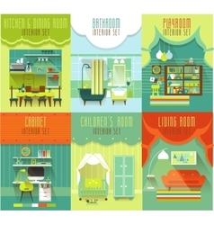 House interiors set with furniture vector