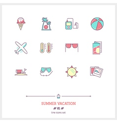 Summer vacation line icons vector