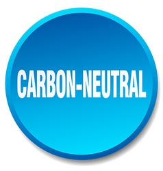 Carbon-neutral blue round flat isolated push vector