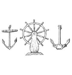 boat s wheel and sea anchor marine sketch vector image