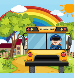 Bus driver driving schoolbus on the road vector