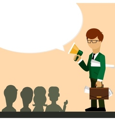 Businessman investor speaks in megaphone vector image