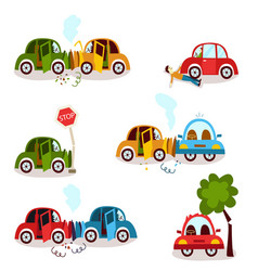 car crash road accident vehicle collision set vector image