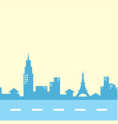 Cartoon building city view with street in color vector