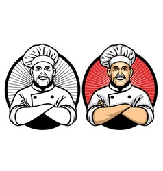 chef crossing arm pose vector image