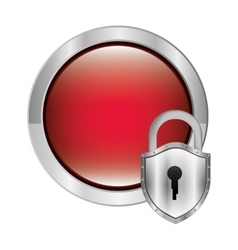 Circular button with metallic padlock vector