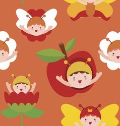 Cute butterfly babies seamless print vector