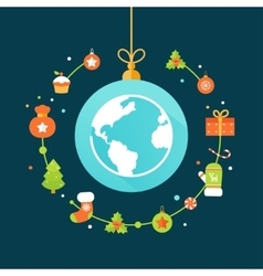 Earth globe and christmas decorations vector