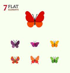 Flat butterfly set of moth milkweed danaus vector