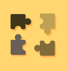 Flat icon design kids puzzle in sticker style vector