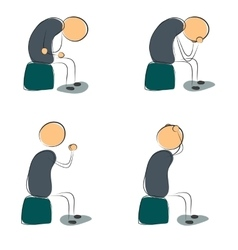 Four icon depressed sitting man vector