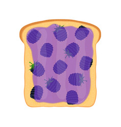 Fried bread toast with blackberry jamjelly paste vector