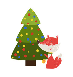 greeting card with cartoon fox with yo-to toy tree vector image