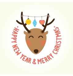 Happy new year deer head vector image vector image