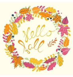 Hello Fall hand lettering vector image