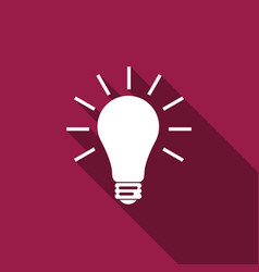 light bulb flat icon with long shadow vector image