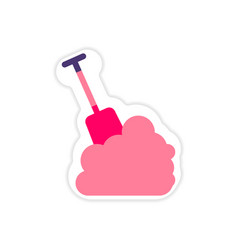 Paper sticker on white background snow and shovel vector