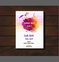 Poster template for summer party vector