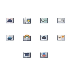 Reading books flat color icons vector