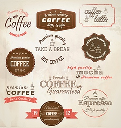 Retro styled coffee labels vector image vector image