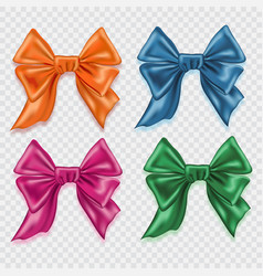 set of realistic colorful satin bows isolated on vector image vector image