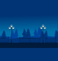 street lamp on garden scenery silhouettes vector image vector image
