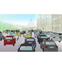 Traffic jam of cars vector