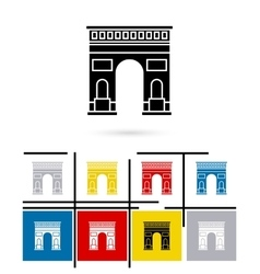 Triumphal arch in paris icon vector