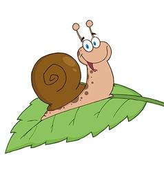 Happy Cartoon Snail On A Leaf vector image