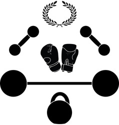 weights and boxer gloves third variant vector image
