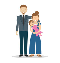 family dad and mom with baby daughter vector image