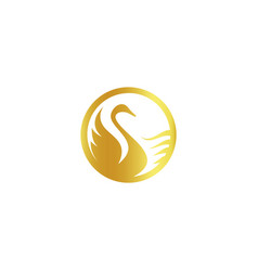 Isolated abstract gold color birds silhouettes vector