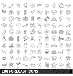 100 forecast icons set outline style vector image