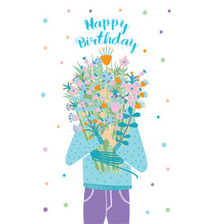 happy birthday greeting card guest with flower vector image