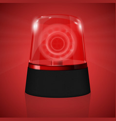 Red siren flashing emergency light vector