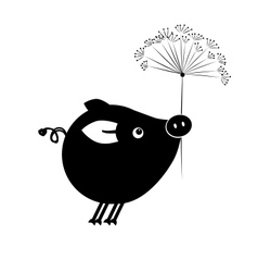Flying piggy with flower for your design vector
