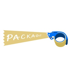 Adhesive tape dispenser with a word package vector