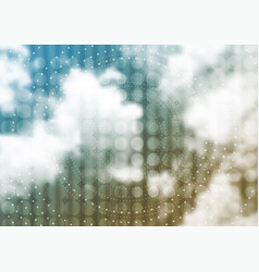 Cloudscape background with circles and dots vector