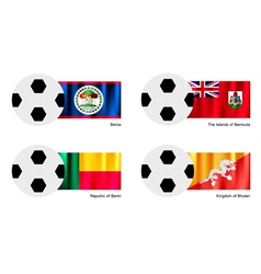 Soccer ball with belize bermuda benin flag vector