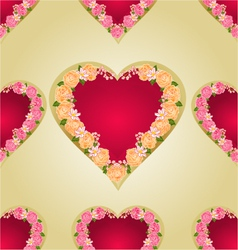 Seamless texture heart with roses vector