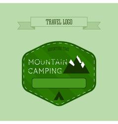 Mountain camping logo labels and badges travel vector