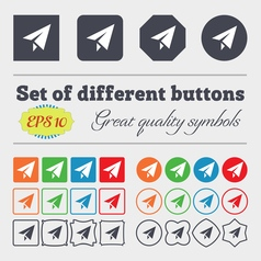 Paper airplane icon sign big set of colorful vector