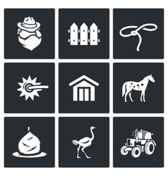 Cowboy ranch icons set vector
