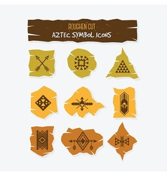 Aztec symbol cut icons set on gray background vector
